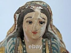 Antique Mexican Virgin Santa Hand Carved Original Paint 8 Tall 19th c