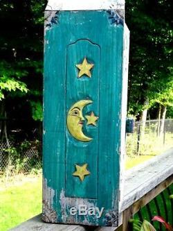 Antique Quebec PRIMITIVE folk art MEDICINE CABINET GYPSY sun moon stars carved