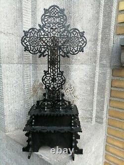 Antique Standing Tramp Carved Wood Folk Art Crucifix Angels Metal Jesus Corpus