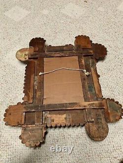Antique TRAMP ART FOLK ART Frame Photo Mirror Artwork Layered Hand Carved Wooden