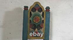 Antique Tibetan Stool Tribal Folk Art Furniture Hand Carved Prayer Stool Nepal