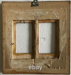 Antique Tramp Art Carved Wood Folk Art RARE DOUBLE PIC Frame 7 x 7.5