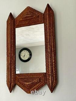 Antique Tramp Art Frame With Mirror Layered Hand Carved Wooden Folk Art