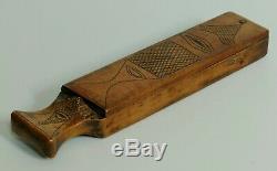 Antique Treen Primitive Razor Box Carved Wood Folk Art Slate Hone Sharpener
