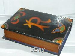 Antique Treen Wood Book Secret Drawer Puzzle Box Folk Art Painted Wooden Carved