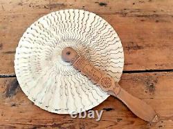 Antique Victorian Folk Art Carved Wood Treen Fan Signed Dated 1855 Welsh Slate