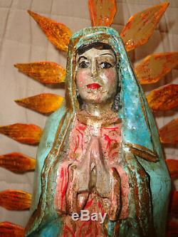 Antique/Vintage Folk Art Wood Carved Our Lady of Guadalupe Statue