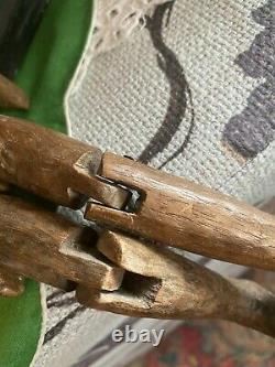 Antique Vintage Primitive Hand Carved Folk Art Wood Articulating Man Manikin