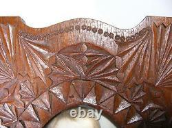 Antique Vintage Wooden Chip Carved Folk Tramp Art Photo Picture Frame Hand Made