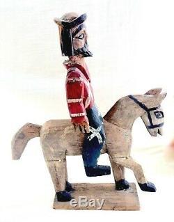 Antique/Vtg Primitive Folk Art Hand Carved Wood Santo/Soldier on Horse Back