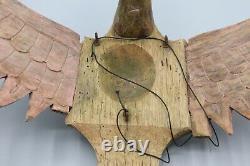 Antique Wood Carved Primitive Flying Dragon Sculpture Old Red Paint Folk Art