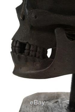 Antique Wooden Skull Hand Carved 19th century Folk Art