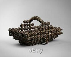 Antique superb tramp art'crown of thorns' carved basket folk art 19th century
