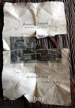 Antique tramp folk art treen cigar box carving Jacobean aumbry mural cupboard