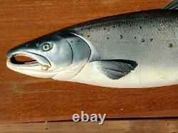 Atlantic Salmon wood carving fish wall mount JOHN TULLY Scotland 1900's
