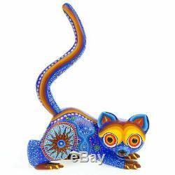 BLUE SQUIRREL Oaxacan Alebrije Wood Carving Fine Mexican Folk Art Sculpture