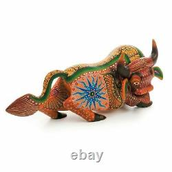 BROWN BULL Oaxacan Alebrije Wood Carving Mexican Art Animal Sculpture Painting