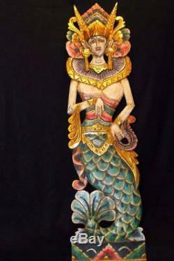 Balinese Mermaid Goddess Wall Panel Hand carved Painted wood Bali folk Art Mul