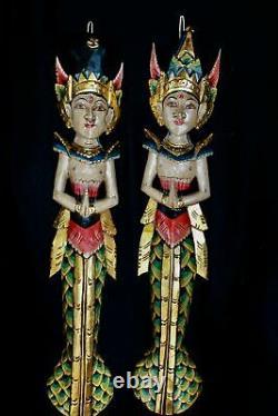 Balinese Mermaid Wall Art Dewi Sita Goddess Rama Guardian Hand carved wood Bali