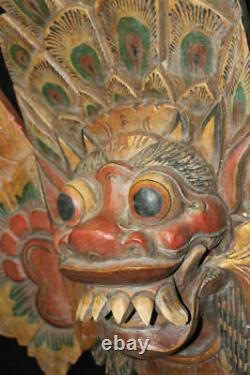 Barong Singa Mask Boma Hand Carved Wood Balinese Indonesian Folk art