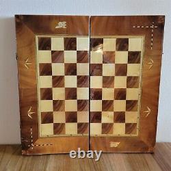 Big soviet carved chess set Wooden vintage USSR russia antique folk art