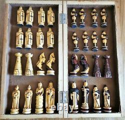 Big soviet folk art hand carved chess set Wooden russia vintage USSR antique