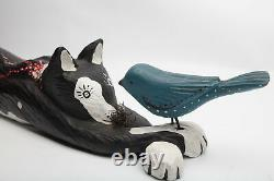 Bruce W Murphy Cat with Bird 1992 Wood Carving