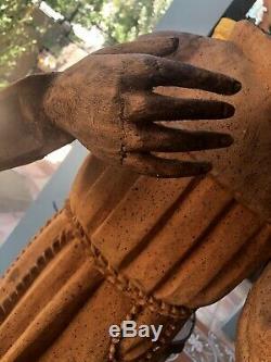 CARVED WOOD SANTO Saint Figurine XXLG 54 Mexican Folk Art
