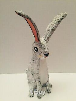 Carved Wood Black and White Bunny Rabbit Folk Art Hector Rascon Figure Carving