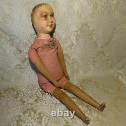 Carved Wood Character Folk Art Doll Antique