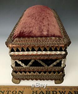 Chip-Carved Folk Tramp Art Box, Signed Paulsen + 2 CdV Photos, Syracuse NY c1900