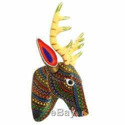DEER HEAD Wall Mount Oaxacan Alebrije Wood Carving Mexican Folk Art Sculpture