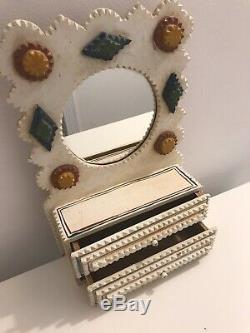 Dan Strawser Jr TRAMP ART Mirror shelf with drawers Folk Art Carved