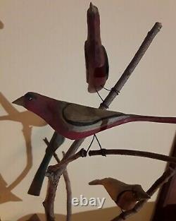 Daniel Strawser Hand Carved Pennsylvania Folk Art Bird Tree c. 1984