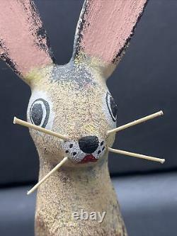 David Alvarez Signed Folk Art Carved Wood Jack Rabbit Bunny Sculpture 7-1/2