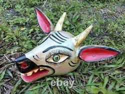 Deer Head Mask Hand Carved Mexican Wooden Carving Figure Folk Art Gold Horns