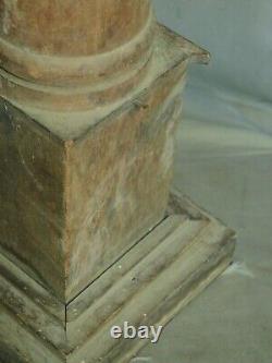 Early American Folk Art Carved Wood Masonic Lodge Pillars Globes Miniature 1860