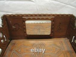 Early Carved Wooden Tramp Art Dresser Trinket Music Box Wood Cigar Folk Keepsake
