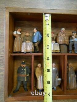 Early German Folk Art Carved Wood Villagers in Shadow Box 14 Pc Vicar Constable