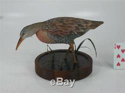 FOLK ART WOODEN CLAPPER RAIL MARSH BIRD SIGNED T O'Connell 1985 WOOD HAND CARVED