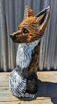 FOX Chainsaw Carving Red Cedar Sculpture Log Cabin Decor Garden Wood Folk Art