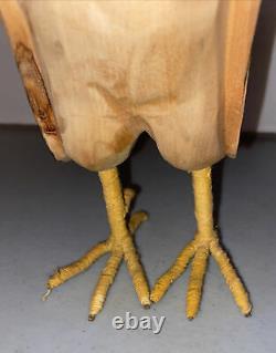 Fantastic Looking Vintage Hand Carved Wood Folk Art Rooster Chicken Sculpture