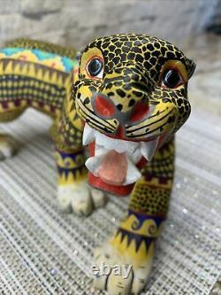 Fierce Jaguar Oaxacan Alebrije Wood Carving fine Mexican folk art sculpture