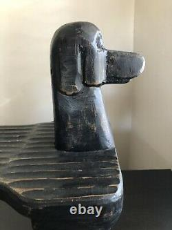 Fine STEPHEN HUNECK Carved Post Modernism Dog Footstool Folk Art Circa 2000 RARE