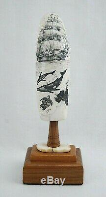 Fine Scrimshaw Hand Carved Maritime Folk Art by Doug Fine 5-1/8