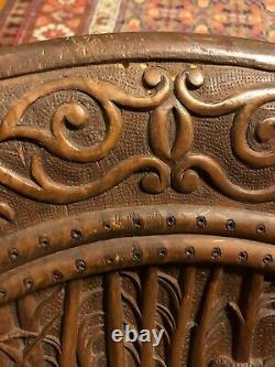 Folk Art Black Forest Wood Carving Hand Carved Hunt Scene Hunters Bear Plaque
