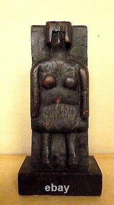 Folk Art Brutalist Sculpture Figure of a Woman Hand Carved Wood AAFA c. 1930's