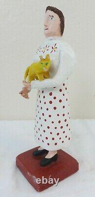 Folk Art Carved & Painted Wood Figure of a Woman Holding a Yellow Cat C. 1970's