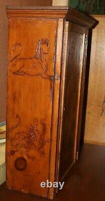 Folk Art Carved Wood Cabinet with Lock and Key 1902