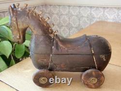 Folk Art Carved Wooden Horse on Wheels Locking Storage Compartment